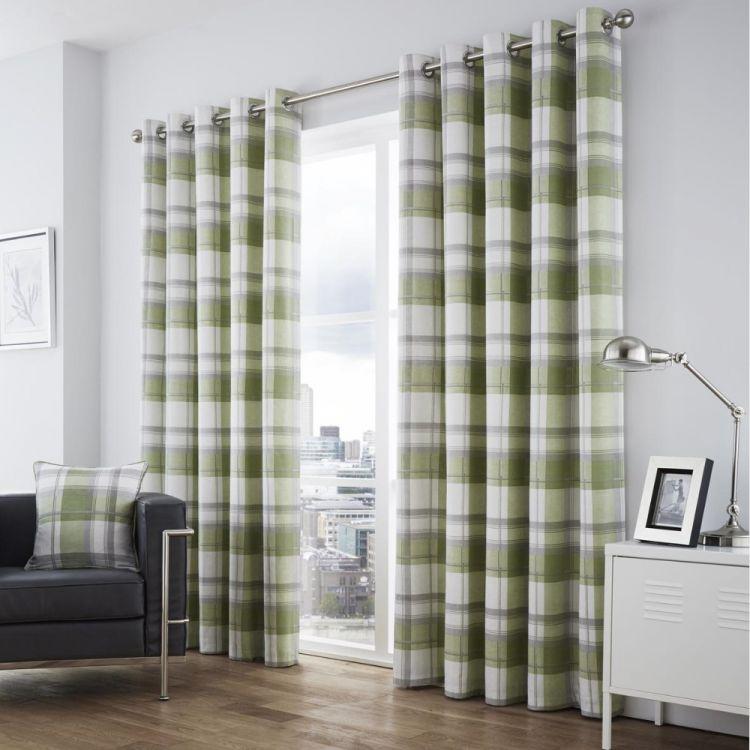 Balmoral Check Eyelet Curtains Green Tonys Textiles