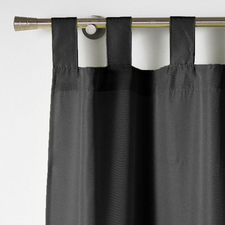 Essentiel Plain Tab Top Curtain Panel Black Tonys