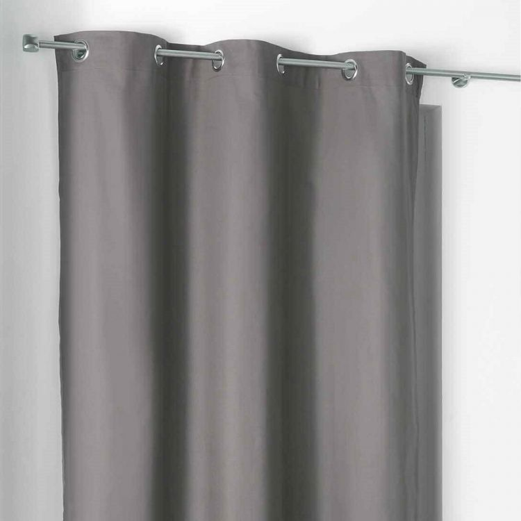 Popsys Plain 100 Cotton Ring Top Curtain Panel Charcoal Grey