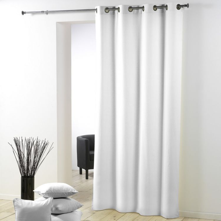 Essentiel Plain Single Curtain Panel With Metal Eyelets White