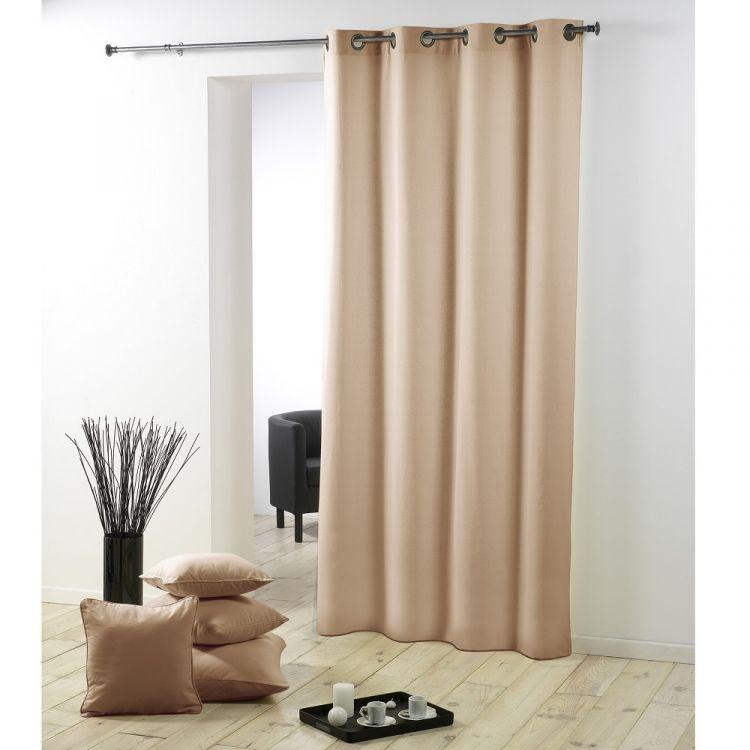 Essentiel Plain Single Curtain Panel With Metal Eyelets Beige
