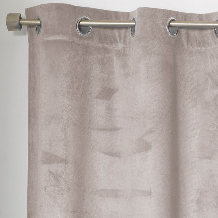 Romantic Plain Velvet Curtain With Ring Top Taupe