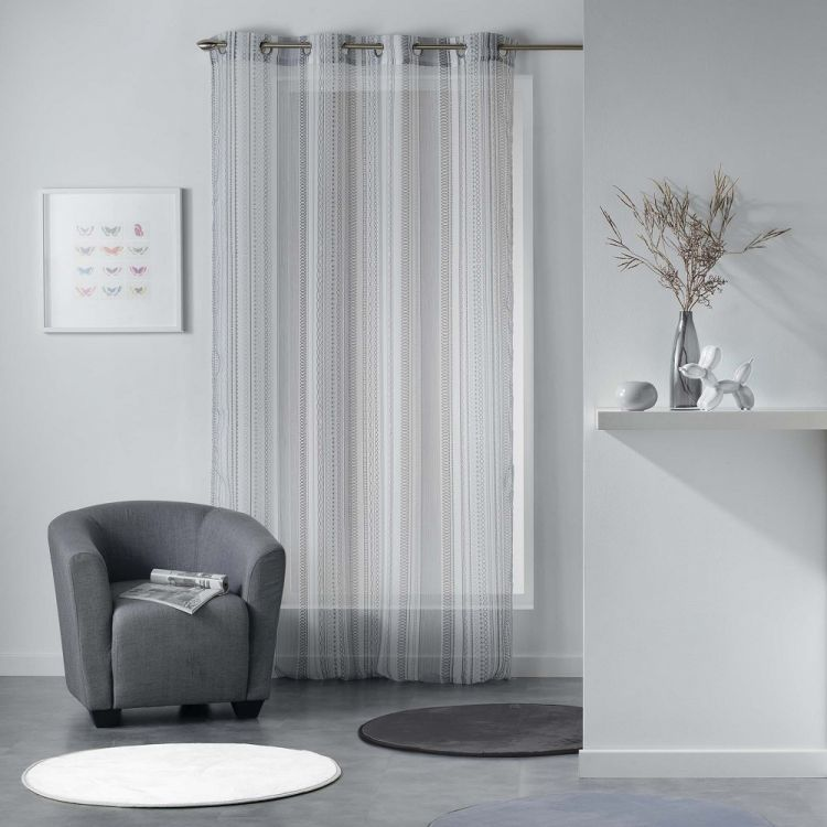 Analea Stripe Voile Curtain Panel With Ring Top