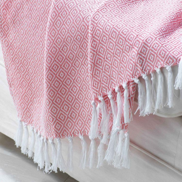 Merina Woven Cotton Geometric Throw With Tassels