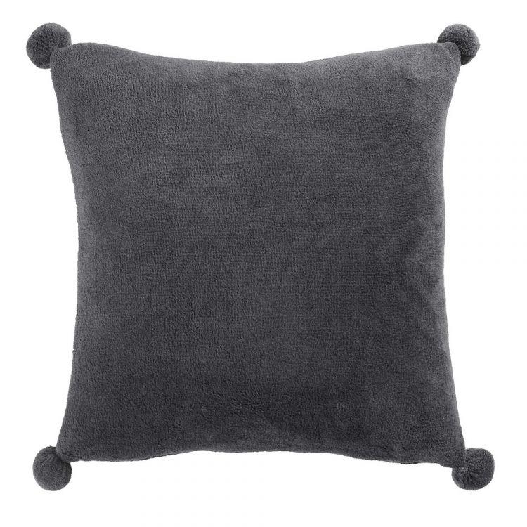 Poupidou Pom Pom Cushion Cover Charcoal Grey Tonys
