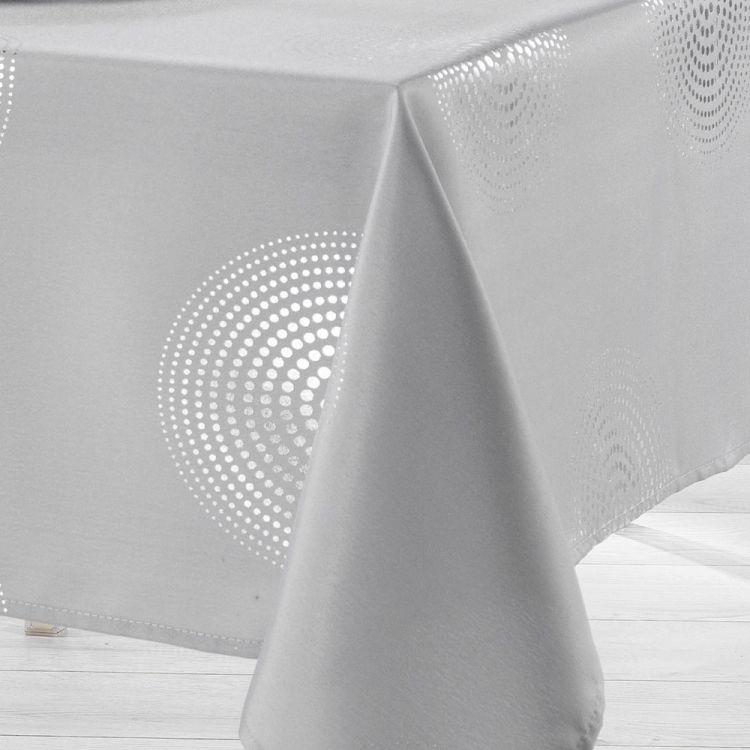 Atome Silver Printed Tablecloth Grey Tonys Textiles