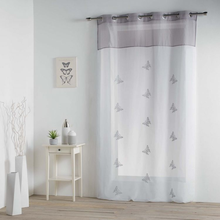 Chrysalide Butterfly Ring Top Voile Curtain Grey