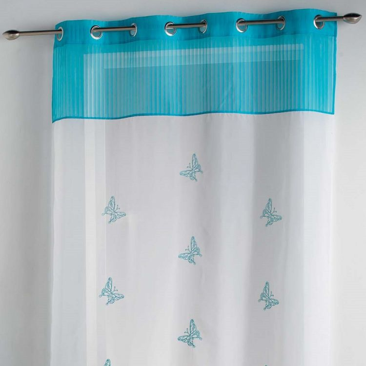 Chrysalide Butterfly Ring Top Voile Curtain Blue