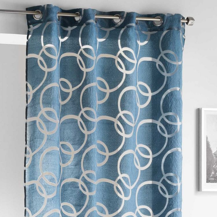 Curvy Crushed Look Ring Top Voile Curtain Panel Blue