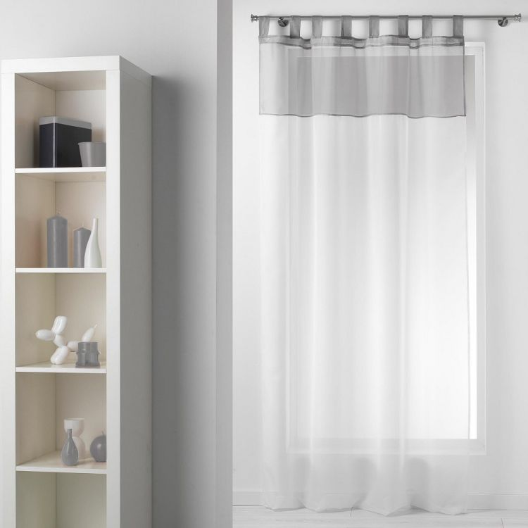 Duo Two Tone Tab Top Voile Curtain Panel White Grey Tonys