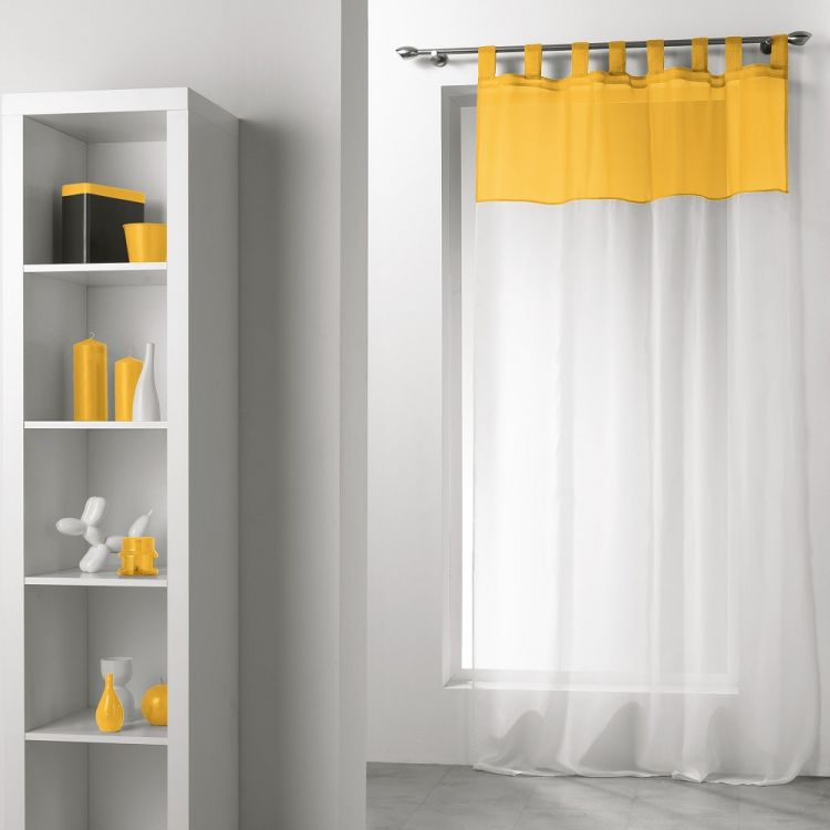 Duo Two Tone Tab Top Voile Curtain Panel White