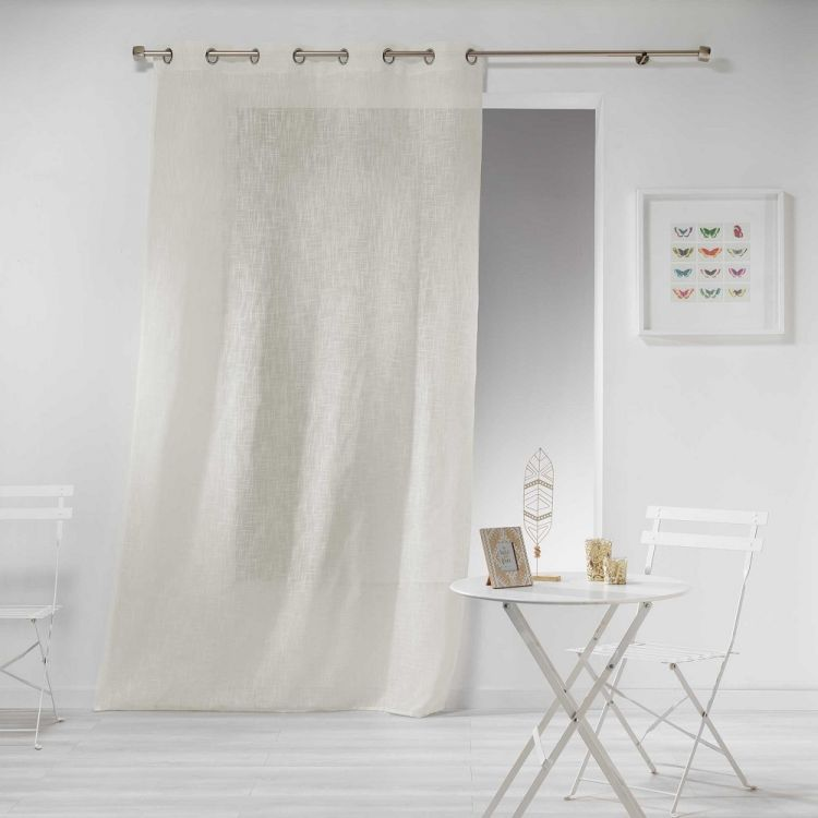 Haltona Woven Linen Effect Ring Top Voile Curtain Panel Natural Tonys Textiles