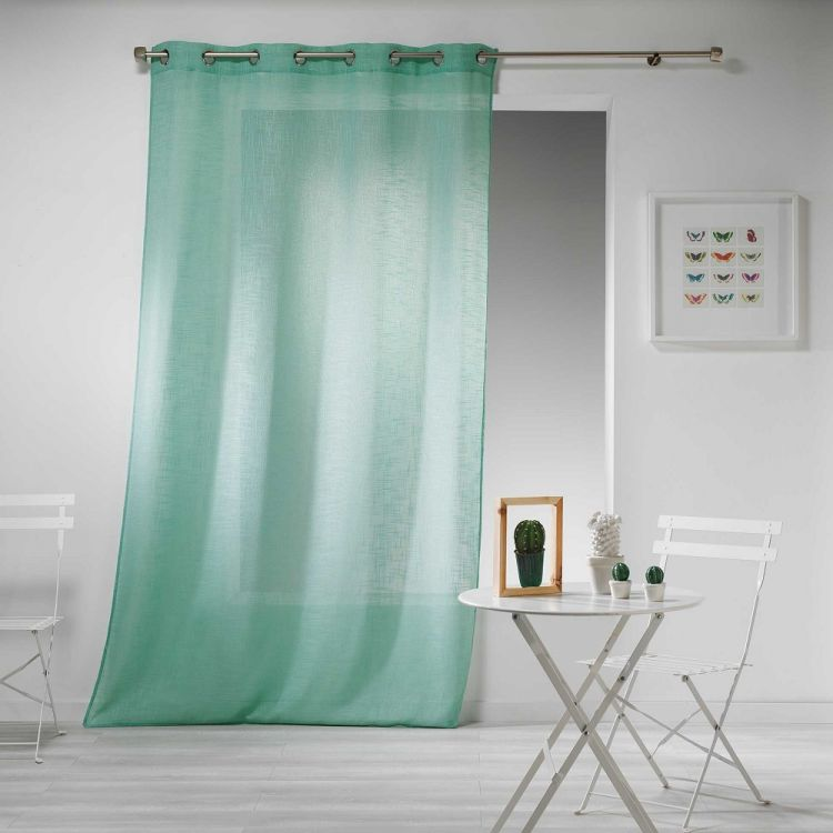 Haltona Woven Linen Effect Ring Top Voile Curtain