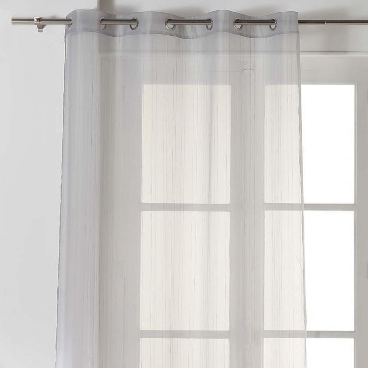 Horizon Striped Ring Top Voile Curtain Panel Grey
