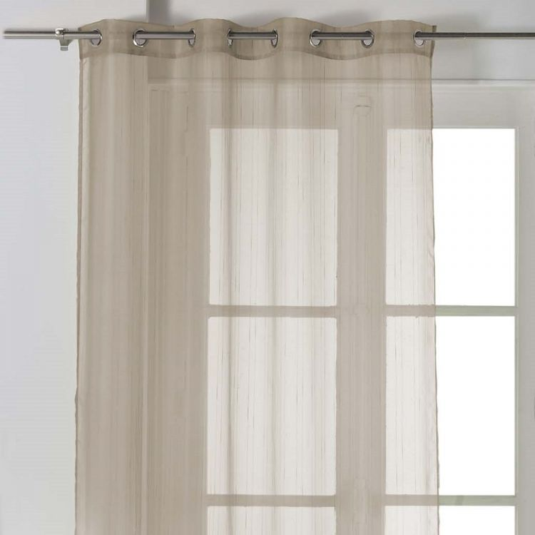Horizon Striped Ring Top Voile Curtain Panel Taupe