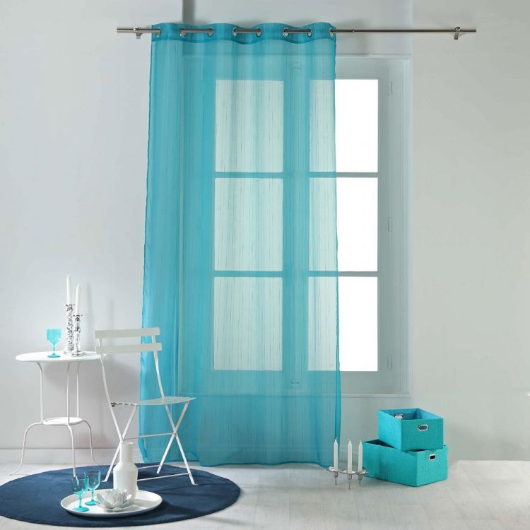 Horizon Striped Ring Top Voile Curtain Panel Blue
