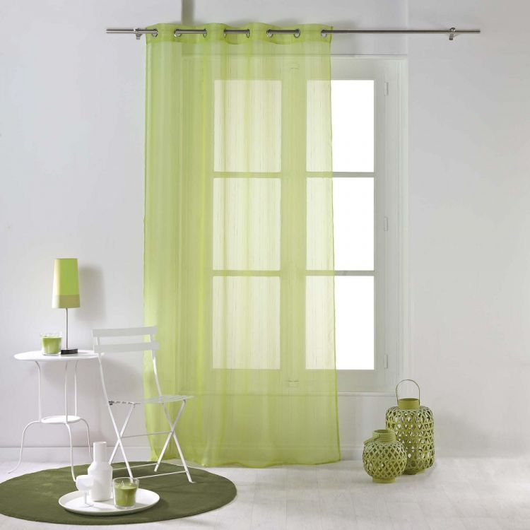 Horizon Striped Ring Top Voile Curtain Panel Lime Green Tonys