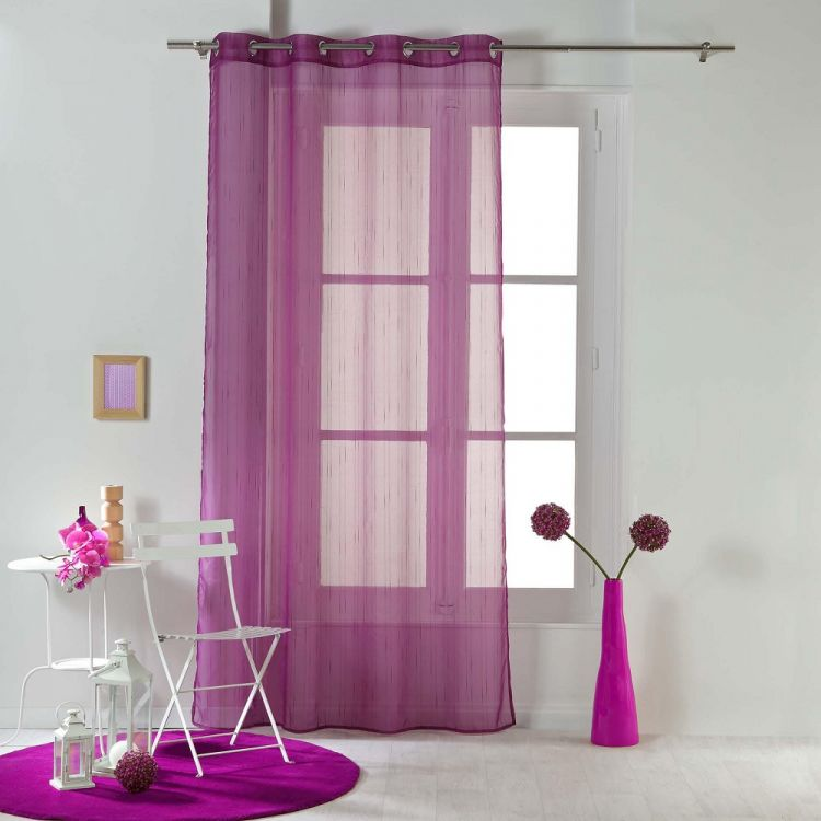 Horizon Striped Ring Top Voile Curtain Panel Plum
