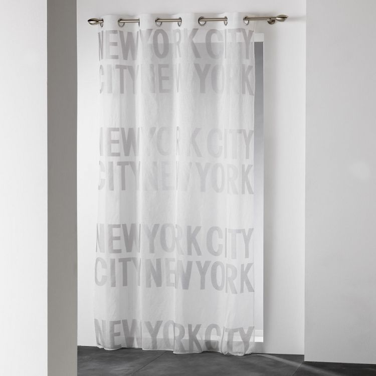 New York City Typo Ring Top Voile Curtain Panel Grey