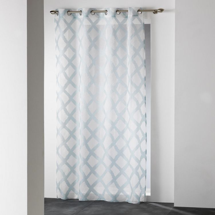 Mood Geometric Ring Top Voile Curtain Panel Duck Egg