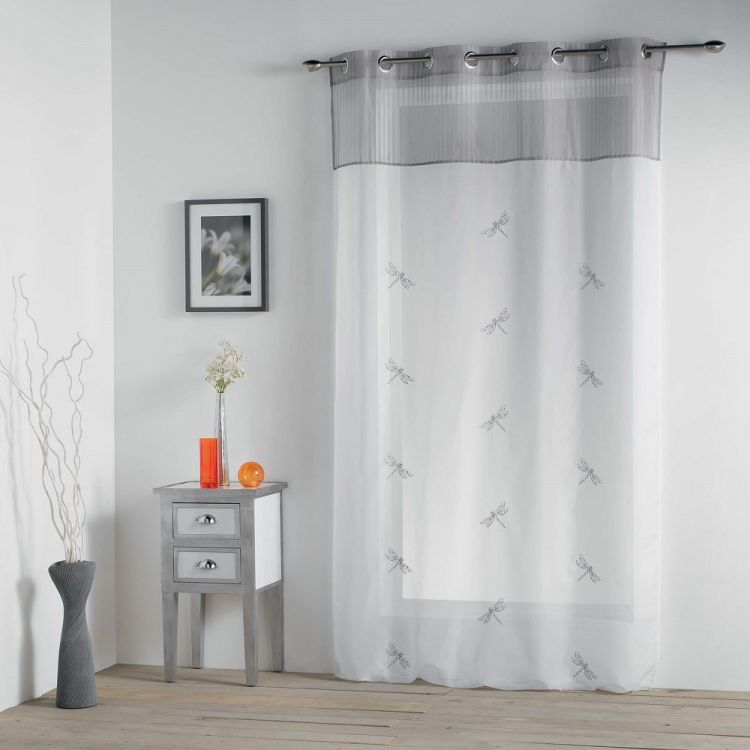Libellula Embroidered Ring Top Voile Curtain Panel Grey Tonys