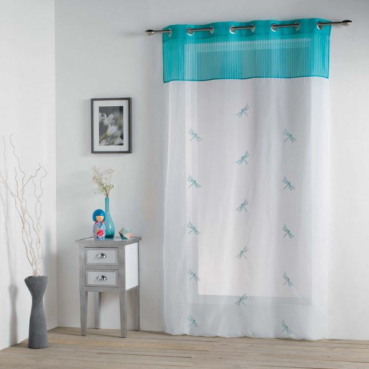Libellula Embroidered Ring Top Voile Curtain Panel Blue Tonys