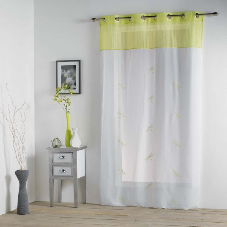 Libellula Embroidered Ring Top Voile Curtain Panel