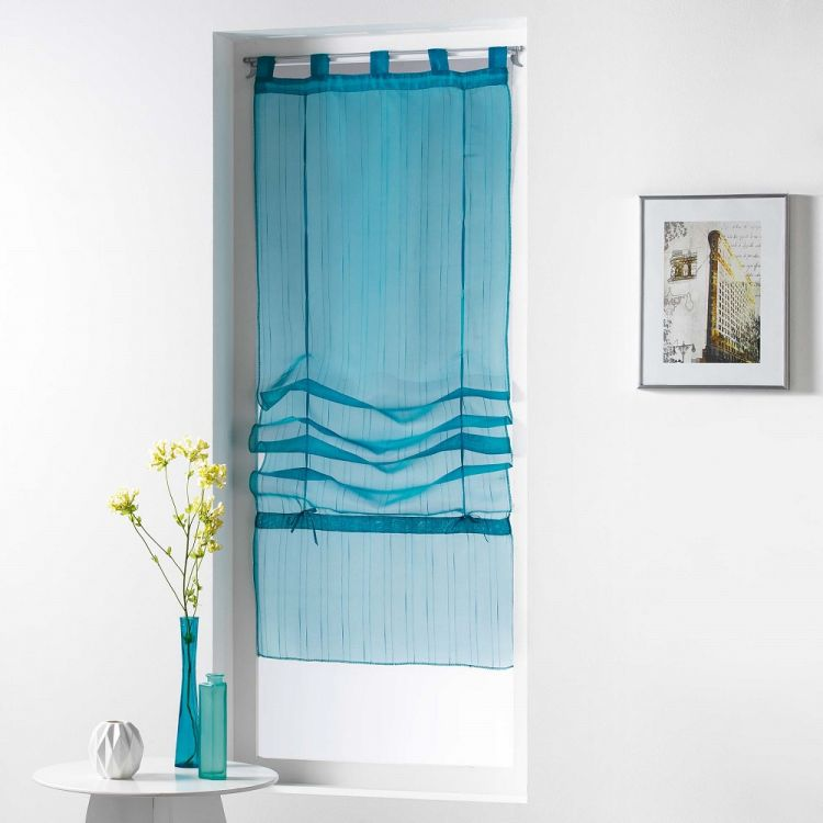 Horizon Striped Tie Up Voile Blind With Tab Top