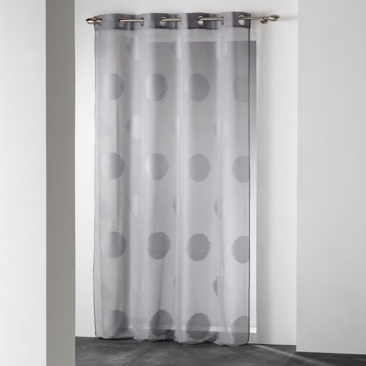 Odyssee Circle Voile Curtain Panel With Eyelets Grey