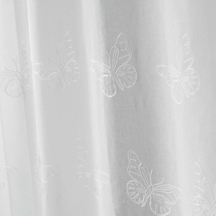 Papillona Butterfly Ring Top Voile Curtain Panel White Tonys