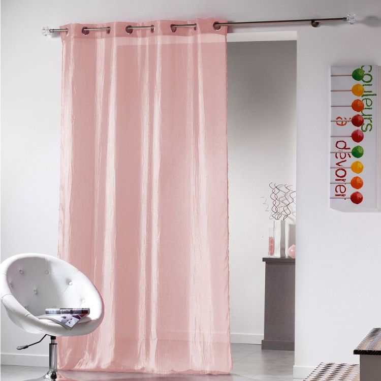 Plisso Crushed Taffeta Ring Top Voile Curtain Panel