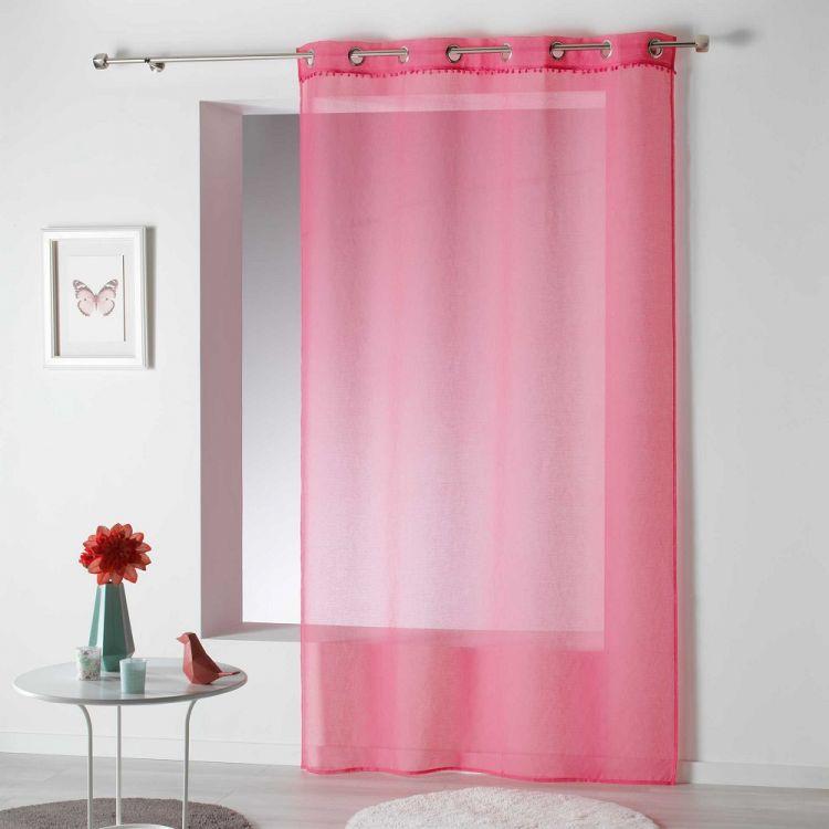Poupette Pom Pom Plain Ring Top Voile Curtain