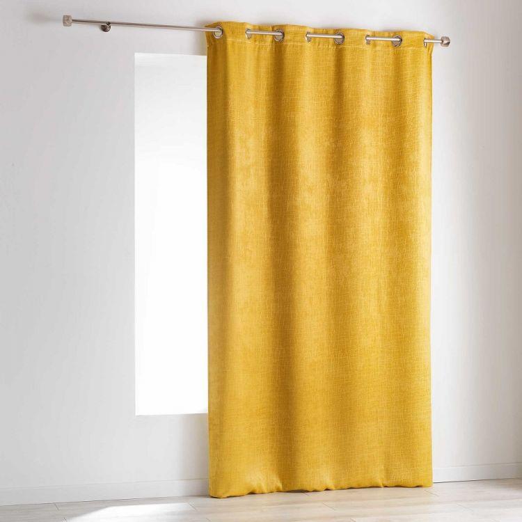 Opacia Embossed Velvet Blackout Ring Top Curtain Panel Yellow