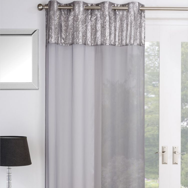 Empire Sequin Voile Curtain Silver Grey Tonys Textiles