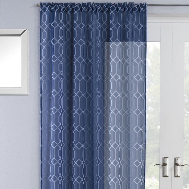 Hoxton Geometric Voile Curtain Panel Navy Blue
