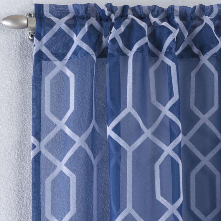 Hoxton Geometric Voile Curtain Panel Navy Blue