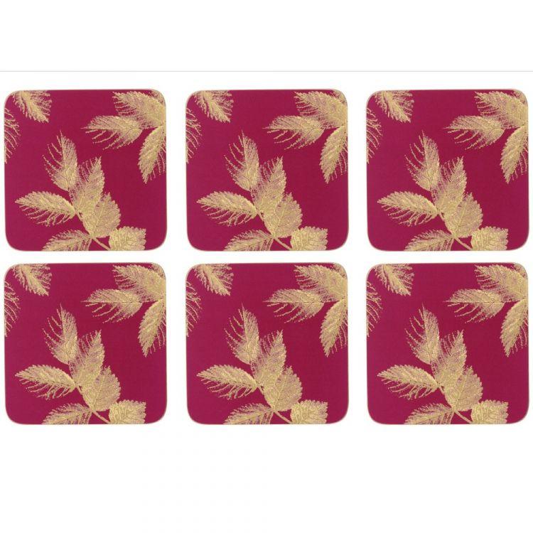 Sara Miller Etched Leaves Set Of Six Coasters Pink