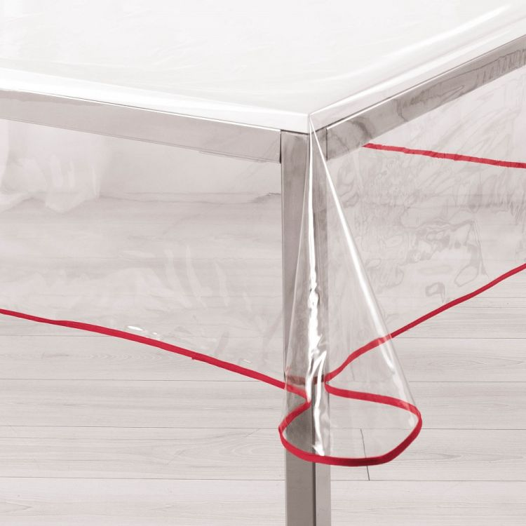 Garden Transparent Pvc Tablecloth With Red Edging