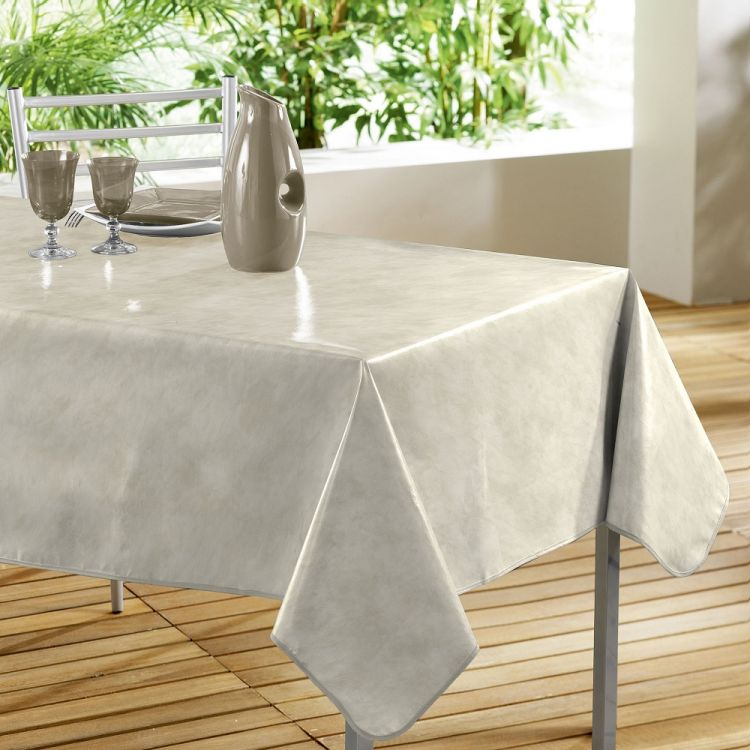 beton cire plain pvc tablecloth beige tonys textiles. Black Bedroom Furniture Sets. Home Design Ideas