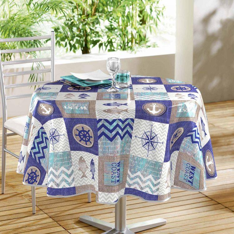 Escale Printed Pvc Tablecloth Blue Tonys Textiles