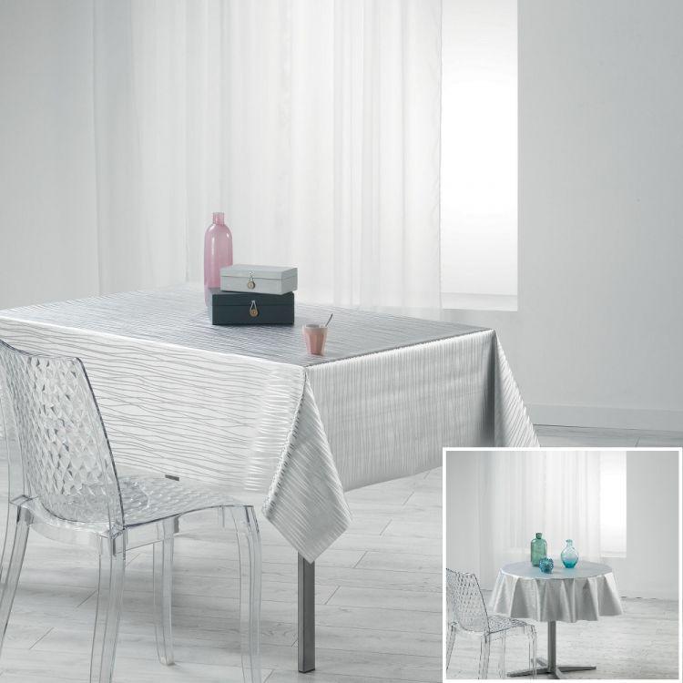 Wavy Metallic Look Pvc Tablecloth White Tonys Textiles