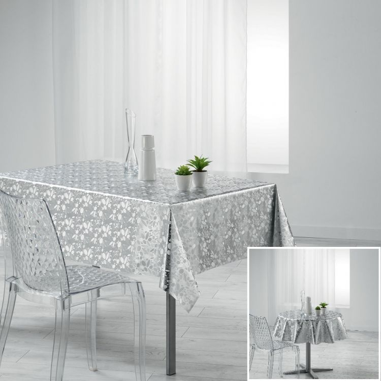 Luny Pvc Tablecloth With Metallic Look Silver Grey
