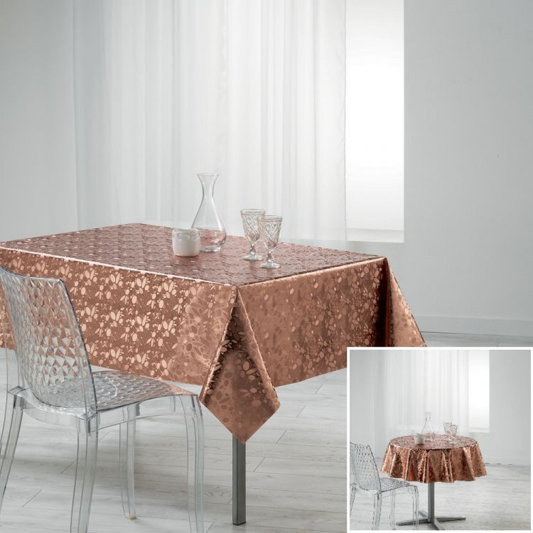 Luny Pvc Tablecloth With Metallic Look Rose Gold
