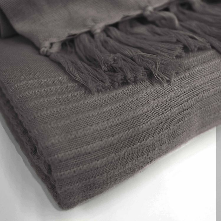 Lana Woven Cotton Throw With Fringe Charcoal Grey