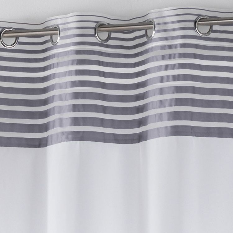 Sally Eyelet Voile Panel With A Striped Top Grey