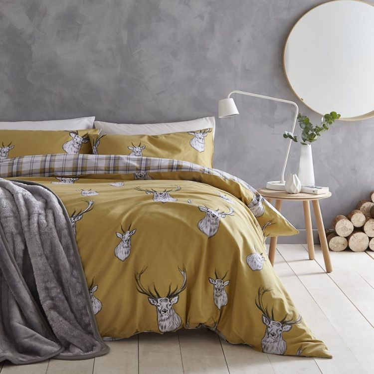 Catherine Lansfield Stag Duvet Cover Set Ochre Yellow Tonys Textiles