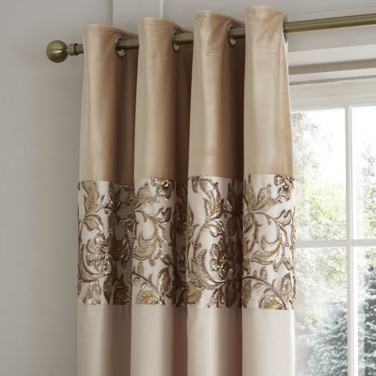 Catherine Lansfield Sequin Trail Curtains Gold