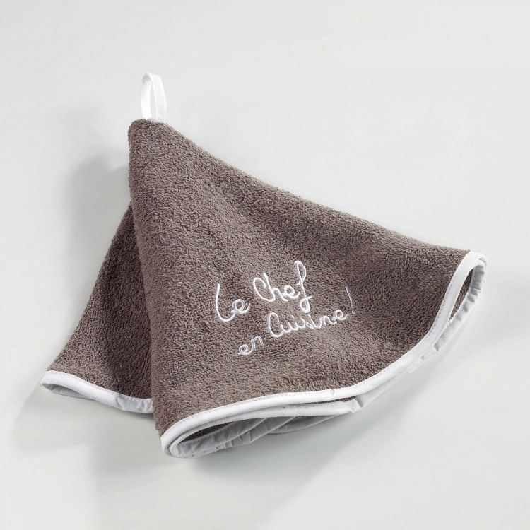 Cuistot 100 Terry Cotton Round Hand Towel Taupe