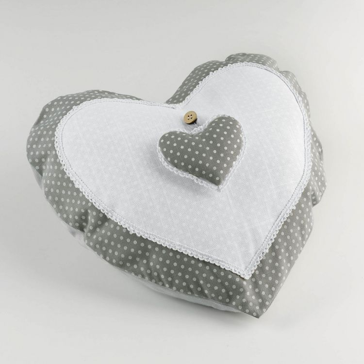 Heart Shaped Polkadot Cushion White Amp Grey Tonys