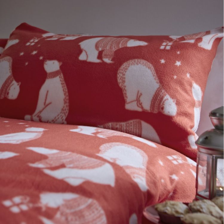 Catherine Lansfield Polar Bear Fleece Duvet Cover Set